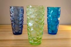 Polish mid century design, optical vases `oculus`. Three colors of optical vases called `oculus`, was designed in ZÄ…bkowice 60s XX century stock photos