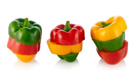 Three colors Paprika Royalty Free Stock Photo
