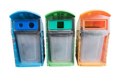 Three colors recycle bins at public park.  Royalty Free Stock Image