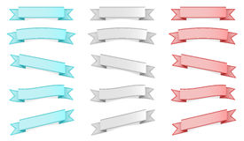 Three colors ribbons set Royalty Free Stock Image