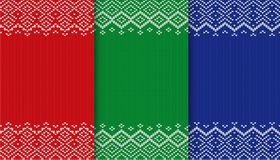 Three colors sweater texture collection. Knitted christmas background. Red, green and blue geometric ornament. stock illustration