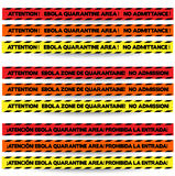 Three colors of tape to warn off people in Ebola outbreak zones, in English, French and Spanish respectively, with red, orange and Stock Images