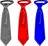 Three colors of ties, grey, red and blue Royalty Free Stock Image