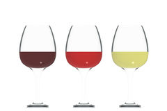 Three Colors of Wine. In crystal isolated on white Royalty Free Stock Photo