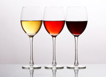 Three Colors of Wine Stock Photo