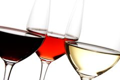 Three Colors of Wine Royalty Free Stock Photos