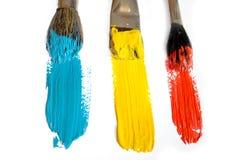 Three colour brushes Royalty Free Stock Photos