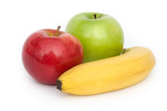 Three colour fruits. Fruits: apples and banana on white background stock photography