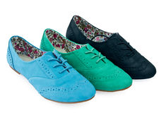 Three colour summer Shoes stock photography