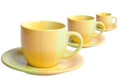 Three colour tea cups Royalty Free Stock Photos