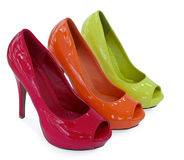Three colour women shoe Stock Photography