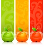 Three coloured apples on decorative background. Vector illustration Royalty Free Stock Photos