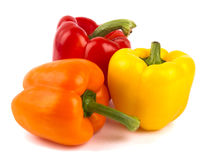 Three coloured bell peppers Stock Images