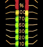 three coloured distorted level indicator stock photos