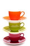 Three coloured espresso cups Royalty Free Stock Photos