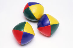 Three coloured juggling balls stock photography