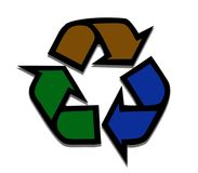 THree coloured Recycling Symbol Royalty Free Stock Image