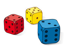 Three colourful dice. In red, yellow and blue with a three, four and five uppermost isolated on white, eps8 vector illustration Stock Photos
