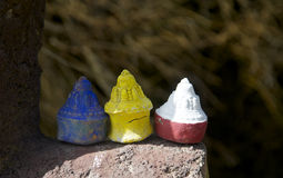 Three colourful Mini Stupas Royalty Free Stock Photo