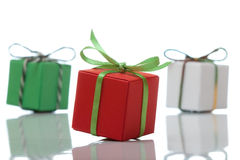 Three colourful present boxes Royalty Free Stock Photography