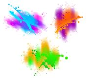 Three colourful splash Royalty Free Stock Images