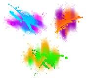Three colourful splash. Vector illustration