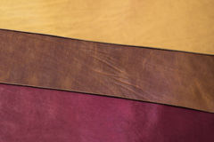 Three colours leather. For belt Stock Photography