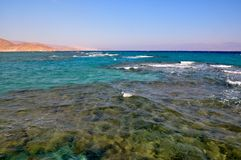 Three colours of the sea. Different colours of water in the Red Sea Royalty Free Stock Photo