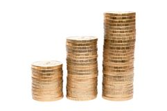 Three columns of coins Royalty Free Stock Photos