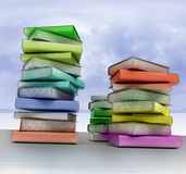 Three columns of colored books Royalty Free Stock Photo
