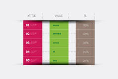Three columns infographic table. Modern vector summary table with rows and columns Stock Image