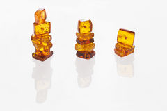 three columns of yellow amber Stock Photos
