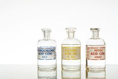 Three common mineral acids. The three common mineral acids used in chemistry, hydrochloric, sulfuric and nitric stock image