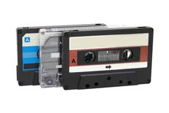 Three compact cassette tapes Royalty Free Stock Photography
