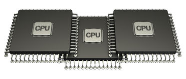 Three computer chip processor. 3D. isolated Stock Photos