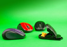 Three computer mouses with a mousetrap. Over green background stock photography