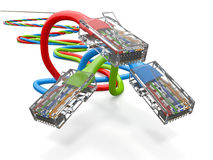 Three computer network cables rj45. 3d Stock Photos