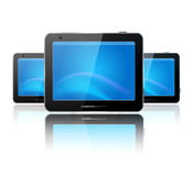 Three computer tablet on the white background Stock Images