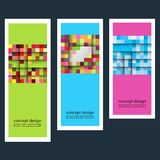 Three concept abstract color sticker squares eps.  vector illustration