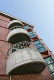 Three Concrete Balconies stock images
