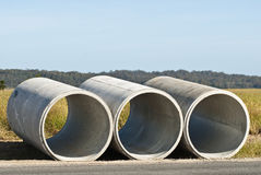Three concrete pipes Stock Photography