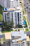 Three condo buildings. Aerial shot of three luxurious condo buildings taken from high above Stock Images