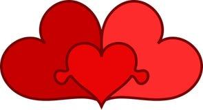 Family. Three conected hearts as family symbol Royalty Free Stock Photo