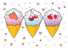 Three cones of ice cream. Stock Photography