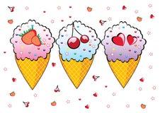 Three cones of ice cream. Stock Photography