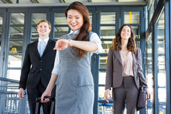 Three confident colleagues in office Royalty Free Stock Images