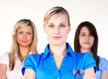 Three confident women looking at the camera Stock Images