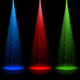 Three conical RGB shafts of light Stock Images