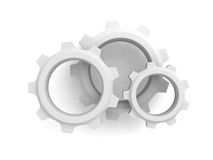 Three connected cogwheel gears on white background Stock Photo
