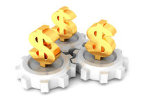 Three connected working dollar currency symbol gears Stock Image